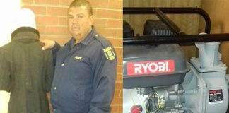 Suspect nabbed with stolen generator, Kimberley. Photo: SAPS