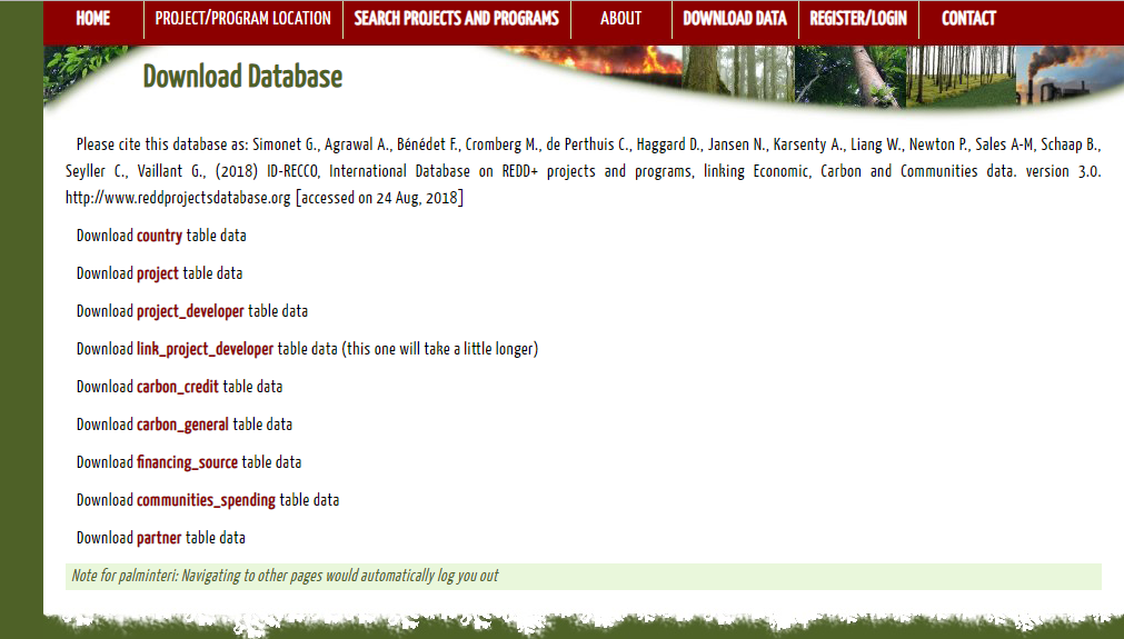 Screenshot of ID-RECCO tables available for download. Image courtesy of CIRAD / CIFOR.