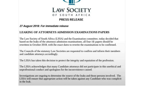 Law Society: Legal exam papers leaked | South Africa Today