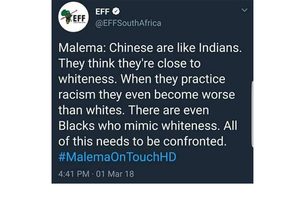 Double standards: Malema racist rant against chinese, indians. Photo: FNSA