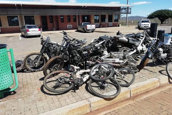 Stolen vehicle, motor bikes and other items, Golela border post. Photo: SAPS