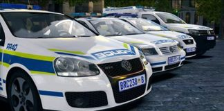 Where are the police vehicles and officers in the Free State?