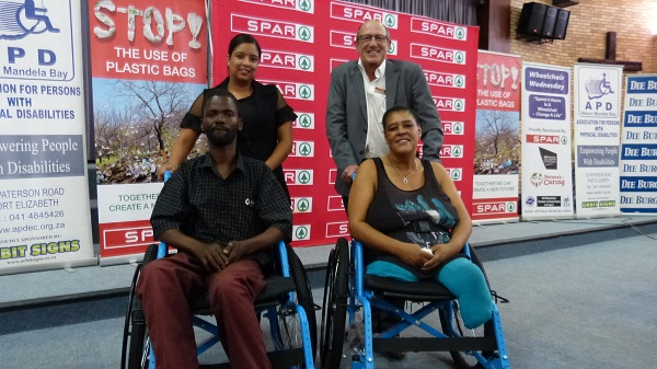 Jeffreys Bay residents Pieter Bosman (front, left) and Rona Vaaltyn were delighted to receive new wheelchairs at the SPAR Eastern Cape Wheelchair Wednesday handover in Jeffreys Bay yesterday. With them are SPAR EC sponsorships assistant Debadene Baatjies (back, left) and sponsorship and events manager Alan Stapleton. Picture: Supplied