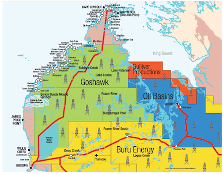 Map of mining leases across the Dampier Peninsula, in the Kimberley region, including Buru Energy's Yulleroo site on Yawuru Native Title lands (lower left). If a state-wide moratorium on fracking is lifted, developers will have the potential to drop 40,000 wells across the Kimberley. Image courtesy of Environs Kimberley.