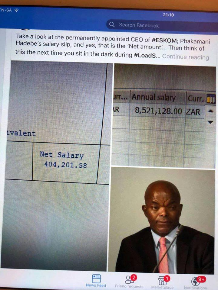 Are you sitting in the dark? CEO of Eskom and his salary slip