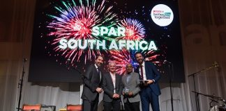 SPAR Eastern Cape managing director Conrad Isaac (second from the right) receives the award for consumer engagement in plastic reduction at the SPAR International Conference in Amsterdam, the Netherlands. With him are (from the left) SPAR International managing director Tobias Wasmuht, SPAR Group sustainability executive Kevin O'Brien and SPAR International marketing and strategic projects head Niels Dekkers. Picture: Supplied