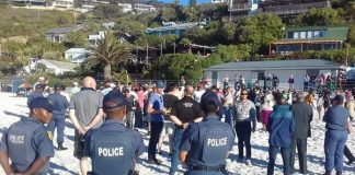 Clifton beach: Sheep's throat cut to expel the 'evil spirit of racism'. Photo: FNSA