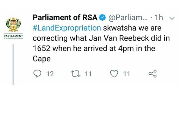 Parliament: 'Dumb and dumber', Jan Van Riebeeck gets the blame again. Photo: FNSA