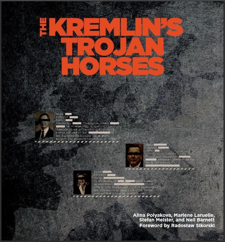 Cover of Atlantic Council Report, 'Kremlin's Trojan Horses' - Gerhard Schroeder Features Prominently
