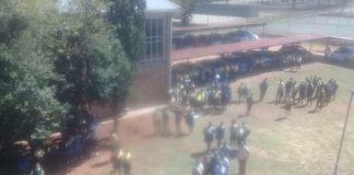 Racist allegations: Protest, chaos and destruction, Stilfontein high school. Photo: FNSA