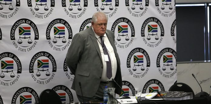Angelo Agrizzi, the former chief operating officer of private security firm, at a South African commission of inquiry into corruption. Sunday Times/Alan Skuy
