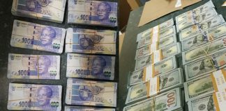 Search reveals vehicle full of counterfeit USD and SA rands, Louis Trichardt. Photo: SAPS