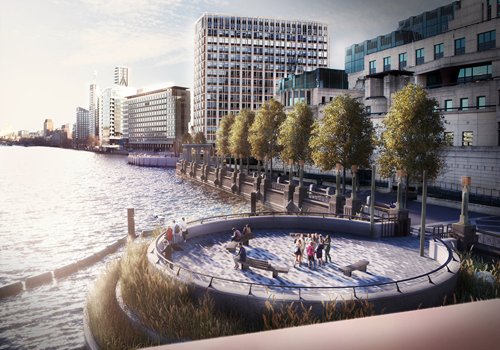 The new entrances to the giant sewage tunnel will be covered up by landscaped areas such as this one on the Albert Embankment