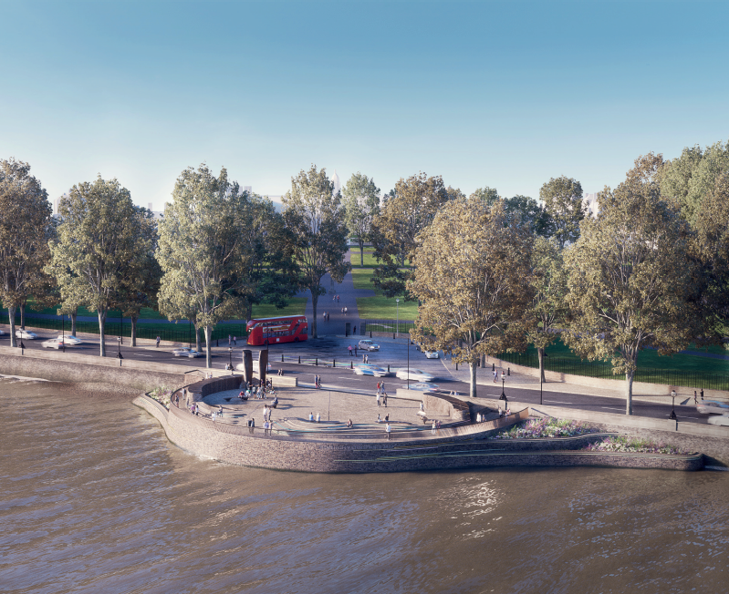 An artist's impression of the reclaimed land in the Thames at the Chelsea Embankment, underneath which will be the new sewer