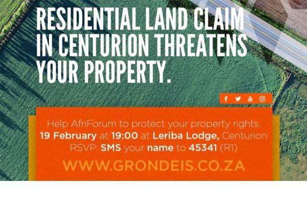 Thousands ask AfriForum's support against Centurion land claim