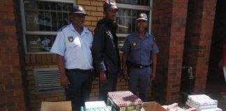 Burglary suspect nabbed with R100k worth of cigarettes, Kuruman. Photo: SAPS