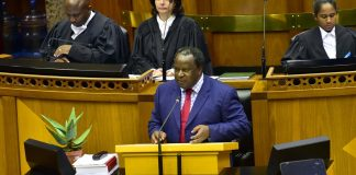 South African Finance MInister Tito Mboweni delivering the 2019 budget speech in parliament. GCIS