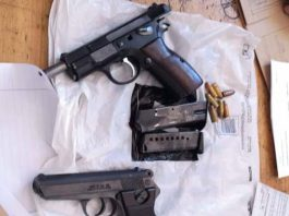 Two suspects arrested for the illegal possession firearms, Guguletu. Photo: SAPS