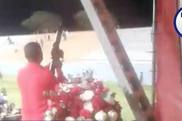 Malema firing assault rifle charge: NPA's hesitation is regrettable. Photo: YouTube - News24