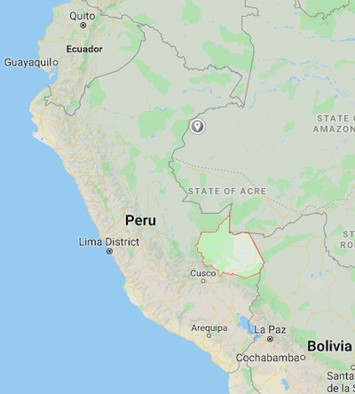Map shows the Madre de Dios region of Peru. Image courtesy of Google Maps.