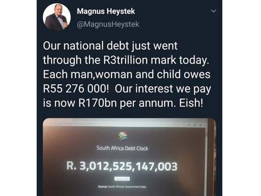 South Africa's disastrous debt: How will the ANC pay it back? Photo: FNSA