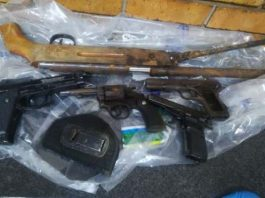 Nine suspects nabbed with illegal firearms, Tonga. Photo: SAPS