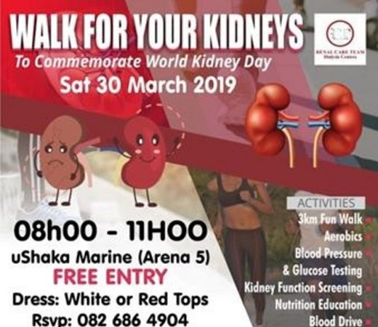 Support World Kidney Day at uShaka Marine World on March 30th by walking the walk