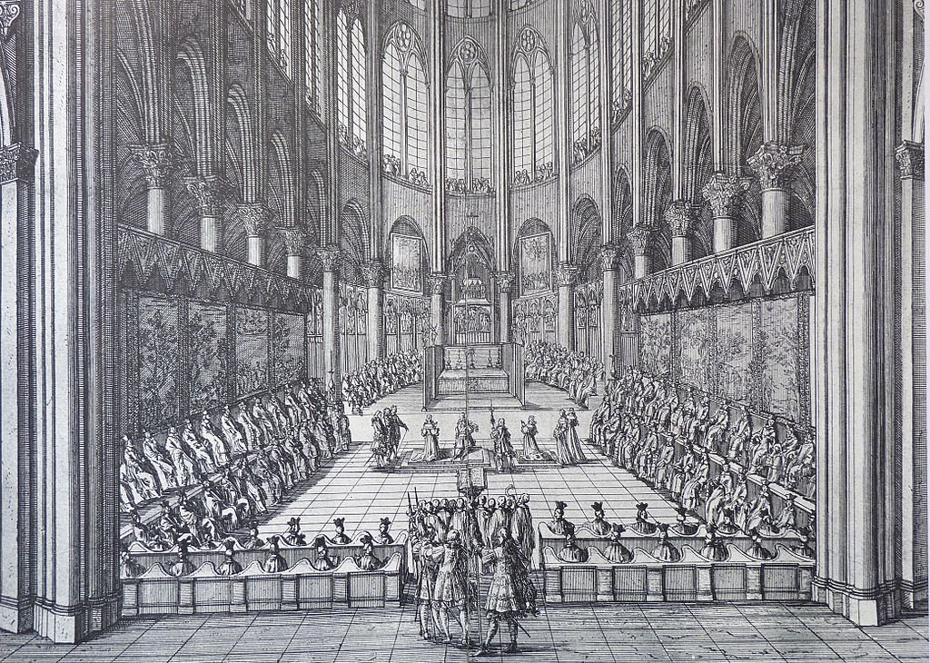 Choir of Notre Dame de Paris in the year 1669, engraving by Jean Marot (1619-1679)