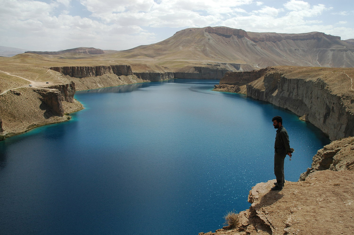 Member of WCS staff overlooks one of the travertine lakes that are part of Band-e-Amir National Park. WCS/Alex Dehgan