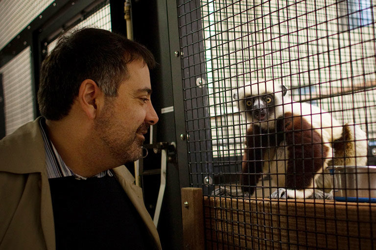Alex Dehgan with a sifaka at Duke Lemur Center.