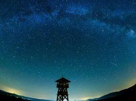 The Milky Way stretches across the sky near the Hungarian border village of Tachty in Slovakia. EPA/PETER KOMKA