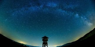 The Milky Way stretches across the sky near the Hungarian border village of Tachty in Slovakia. EPA/PETER KOMKA