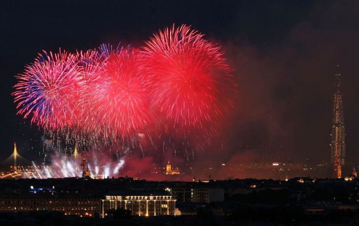 Watch Fireworks Light Up Sky Over St  Petersburg on Navy Day | South