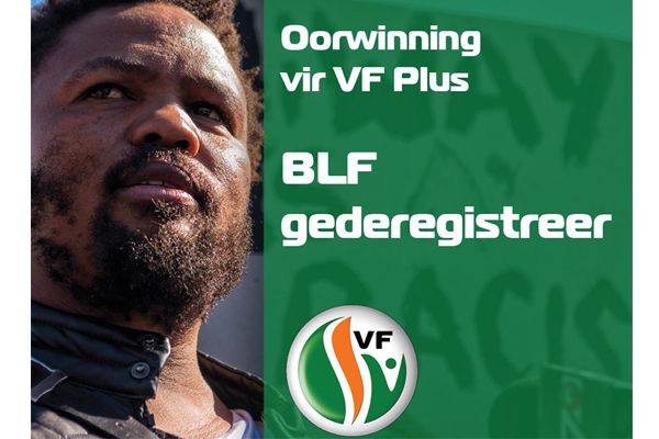 BLF has been deregistered as a political party. Photo: FF Plus
