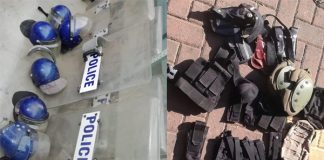 Stash of SAPS protective gear recovered, two arrested. Photo: SAPS