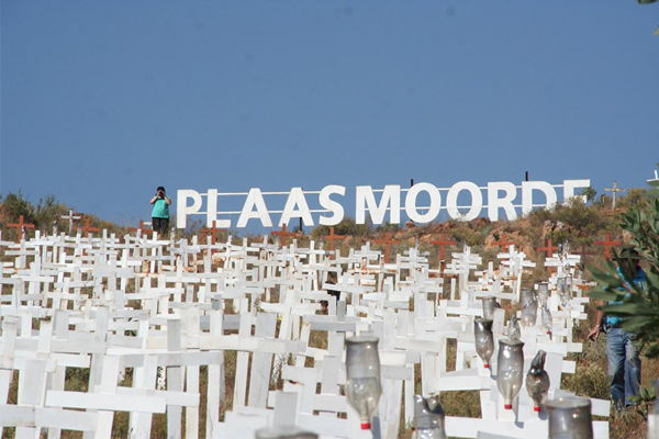 South African farm murders: White Cross monument growing year by year. Photo: Barend Pienaar