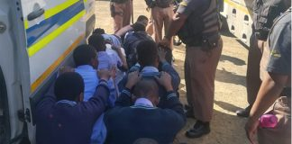 SAPS take trouble learners on prison tour to deter them from crime. Photo: SAPS