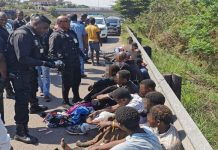 Private security company and SAPS arrest 22 suspects, Verulam. Photo: RUSA