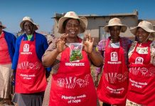 Women from the We Can Women's Cooperative with the produce from their food garden.