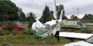 Injuries sustained as plane crashes near the Springs Airport. Photo: Arrive Alive