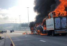 Passenger bus catches fire on the N1 North, Fourways. Photo: Arrive Alive