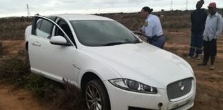 Hijacked Jaguar vehicle recovered, Motherwell. Photo: SAPS