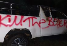 Hate speech: Farmers bakkie painted with slogans and set alight