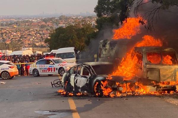 CIT robbery, cash van blown open, guards assaulted, Randburg. Photo: Arrive Alive