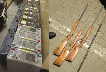 Stolen tower Batteries, homemade shotguns recovered, Tsolo. Photo: SAPS