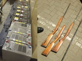 Stolen tower Batteries, homemade shotguns recovered, Tsolo. Photo: SAPS