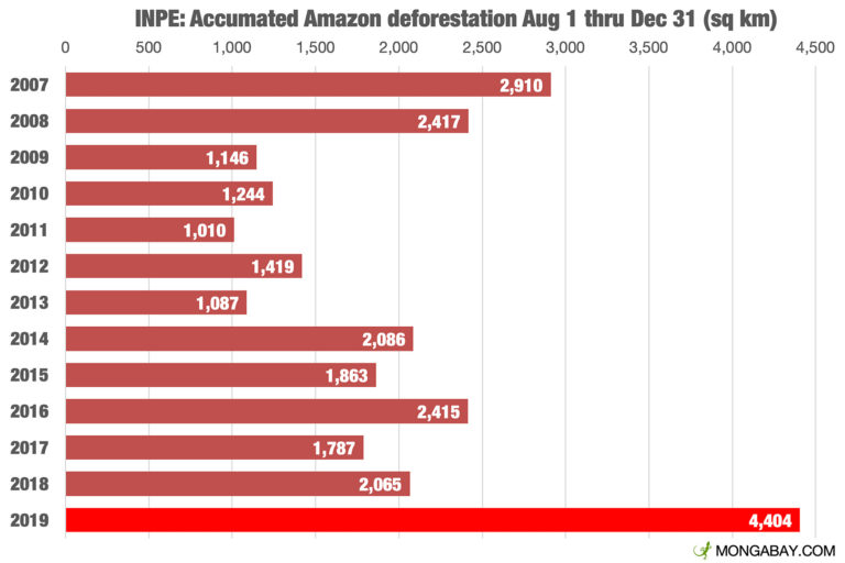 Monthly deforestation alerts from INPE's DETER system. Annual deforestation in the Brazilian Amazon is measured on an August 1-July 31 year, corresponding with the dry season when visibility is best for satellites.