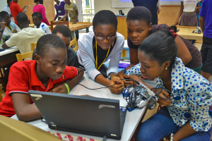Students working with robotics at Ashesi University in Ghana