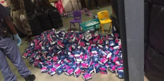 R5 mil worth of counterfeit sanitary pads and machines seized, JHB. Photo: SAPS