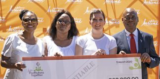 Principal of Embo Pre-School shouts for joy at the generosity of Johannesburg based beauty company